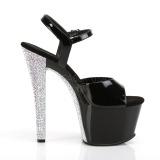 Silber 18 cm SKY-309CHRS plateau high heels mit strass steinen