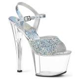 Silber 18 cm SKY-309RS plateau high heels mit strass steinen