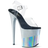 Silber 20 cm FLAMINGO-808-2HGM glitter plateau sandaletten