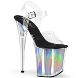 Silber 20 cm FLAMINGO-808HGI Hologramm plateau high heels