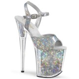 Silber 20 cm FLAMINGO-809HS Hologramm plateau high heels