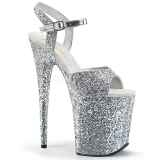 Silber 20 cm FLAMINGO-810LG glitter plateau high heels