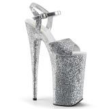 Silber 25,5 cm BEYOND-010LG glitter plateau high heels