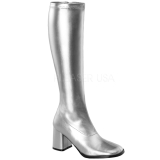 Silber 7,5 cm GOGO-300 hippie stiefel mit blockabsatz - disco stiefel 70er