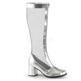 Silber 8,5 cm GOGO-307 Netz Damenstiefel mit hohem Absatz