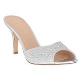 Silber 8,5 cm LUCY-01 glitter pantoletten schuhe damen