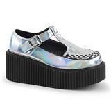 Silber CREEPER-214 Plateau Creepers Schuhe Damen