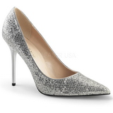Silber Glitter 10 cm CLASSIQUE-20 Damen Pumps Stiletto Absatz