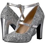 Silber Glitter 10 cm QUEEN-01 grosse grössen pumps schuhe