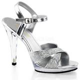 Silber Glitter 12 cm FLAIR-419G High Heels Damenschuhe für Herren