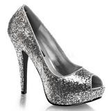Silber Glitter 13,5 cm TWINKLE-18G Plateau Pumps Peep Toe