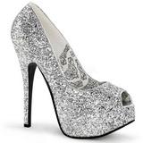 Silber Glitter 14,5 cm Burlesque BORDELLO TEEZE-22G Plateau Pumps
