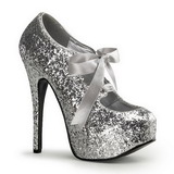 Silber Glitter 14,5 cm Burlesque TEEZE-10G Platform Pumps Schuhe