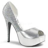 Silber Glitter 14,5 cm Burlesque TEEZE-41W herren pumps für breite füsse