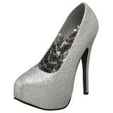 Silber Glitter 14,5 cm TEEZE-31G Platform Pumps Schuhe