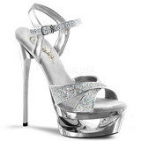 Silber Glitter 16,5 cm Pleaser ECLIPSE-619G High Heels Stilettos