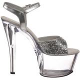 Silber Glitter 18 cm SKY-310 Plateau Sandaletten mit hohen Absätzen