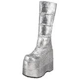 Silber Glitter 18 cm STACK-301G demonia stiefel - unisex cyberpunk stiefel