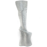 Silber Glitter 34 cm VIVACIOUS-3016 Overknee Stiefel für Drag Queen