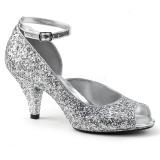 Silber Glitter 7,5 cm BELLE-381G peep toe pumps schuhe