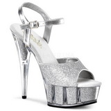 Silber Glitzern 15 cm DELIGHT-609-5G Plateau High Heel