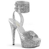 Silber Glitzern 15 cm DELIGHT-691LG pleaser high heels mit knöchelriemen