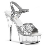 Silber Glitzern 15 cm Pleaser DELIGHT-609 Plateau High Heel