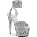 Silber Glitzern 18 cm ADORE-791LG pleaser high heels mit knöchelriemen