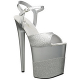 Silber Glitzern 20 cm Pleaser FLAMINGO-809-2G Plateau High Heels
