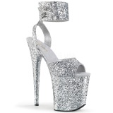 Silber Glitzern 20 cm Pleaser FLAMINGO-891LG Plateau High Heels