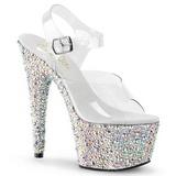 Silber Kristall Stein 18 cm BEJEWELED-708MS Platform High Heel Schuhe