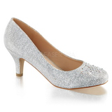 Silber Kristallstein 6,5 cm DORIS-06 Pumps Abend Schuhe mit Absatz