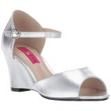 Silber Kunstleder 7,5 cm KIMBERLY-05 grosse grössen sandaletten damen