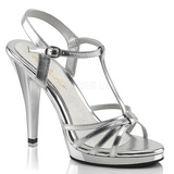 Silber Lack 12 cm FLAIR-420 High Heel Sandaletten Damen