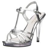 Silber Lack 12 cm FLAIR-420 High Heel Sandaletten Damen