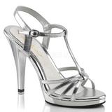 Silber Lack 12 cm FLAIR-420 High Heels Damenschuhe für Herren