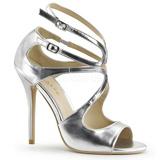 Silber Matt 13 cm AMUSE-15 Hohe Abend Sandaletten mit Absatz