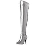 Silber Matt 13 cm SEDUCE-3000 Überkniestiefel Flacher Heels