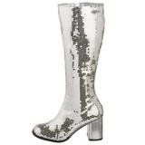 Silber Pailletten 8 cm SPECTACUL-300SQ Damenstiefel für Männer