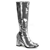 Silber Pailletten 8 cm SPECTACUL hippie stiefel mit blockabsatz - disco stiefel 70er