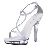 Silber Satin 13 cm LIP-156 High Heel Sandaletten Damen