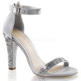 Silber Strass 11,5 cm CLEARLY-436 Hohe Abend Sandaletten mit Absatz