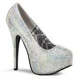 Silber Strass 14,5 cm TEEZE-06R Plateau Damen Pumps Schuhe