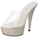 Silber Strass 15,5 cm BEJEWELED-601DM Plateau Mules Schuhe
