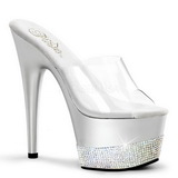 Silber Strass 18 cm Pleaser ADORE-701-3 Plateau Mules High Heels