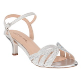 Silber Strass 6,5 cm AUDREY-03 Hohe Abend Sandaletten mit Absatz