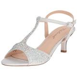 Silber Strass 6,5 cm AUDREY-05 Hohe Abend Sandaletten mit Absatz