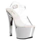 Silber Transparent 18 cm SKY-308 Plateau High Heels