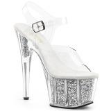 Silber glitter 18 cm Pleaser ADORE-708G pole dance high heels schuhe