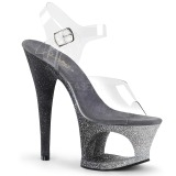 Silber glitter 18 cm Pleaser MOON-708OMBRE pole dance high heels schuhe